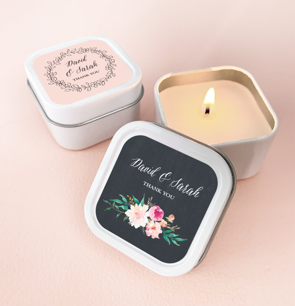Candle Favors - Wedding Favor Candles Personalized -Unique Bridal Shower | Eb2077Gdn 12| Pcs