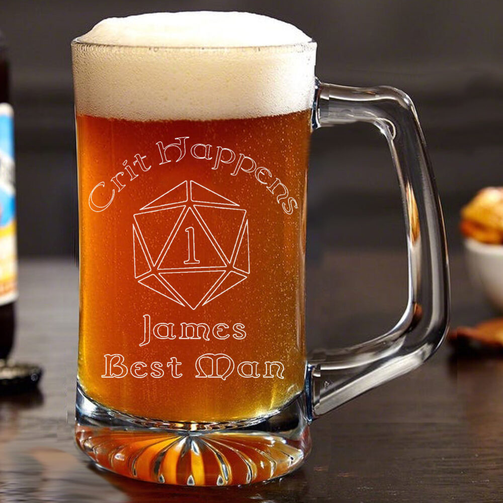 Engraved Personalized Geek Nerd Wedding Favor Beer Mug D20 Critical Fail Crit Happens Bridal Gift Groomsman Birthday
