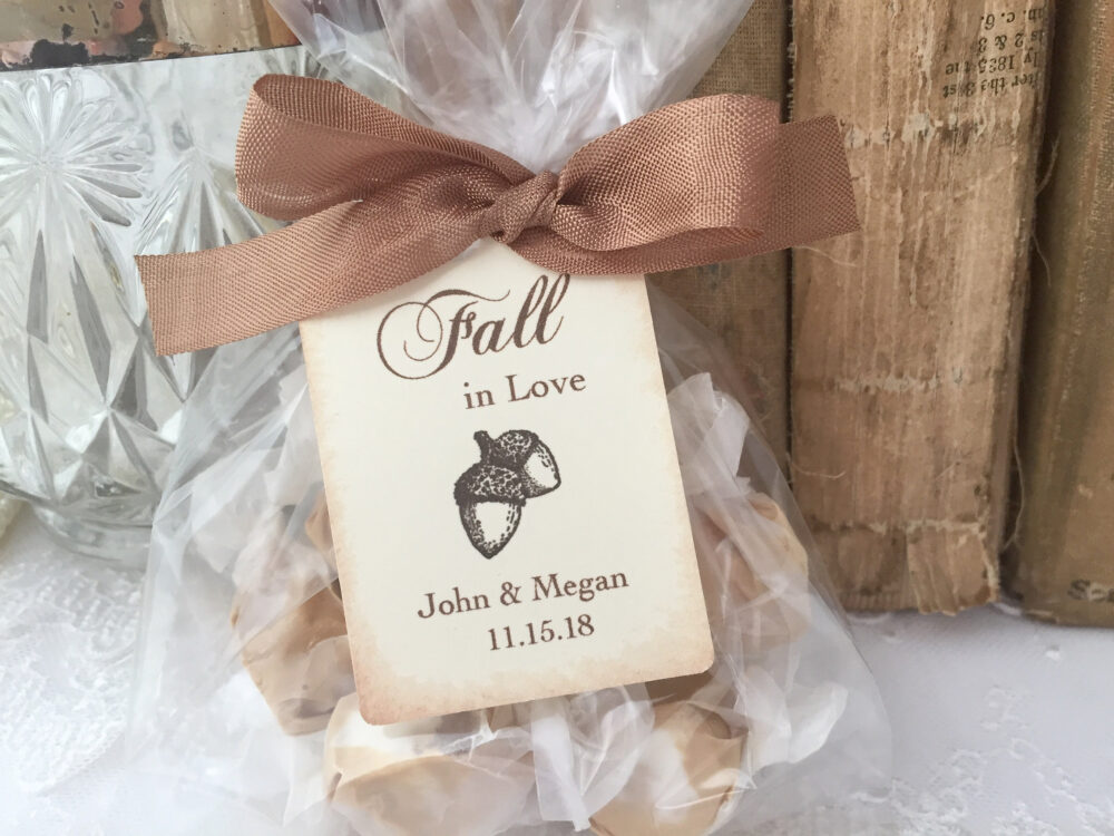 Fall Wedding Favor Bags, Autumn in Love Acorn Wedding, Printed