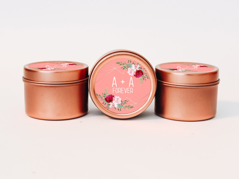 Rose Gold Wedding Favors 12Ct Custom Candle Personalized Bulk Round