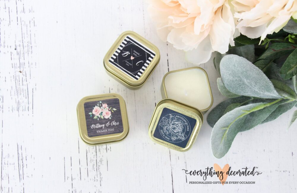 Unique Wedding Favors Candle Custom Favor Candles Gold Personalized Bridal Shower | Set Of 12