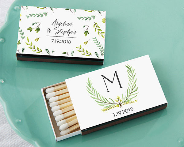 Garden Wedding, Personalized Match Boxes - Wedding Favor Bridal Shower Gift Rustic Spring Floral Leaves, Monogram Initial, Matches