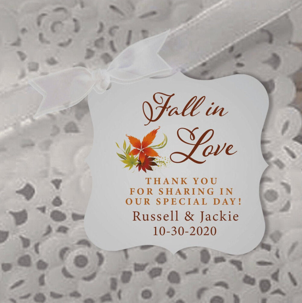 Fall in Love Wedding Favor Tags, Autumn Thank You Personalized