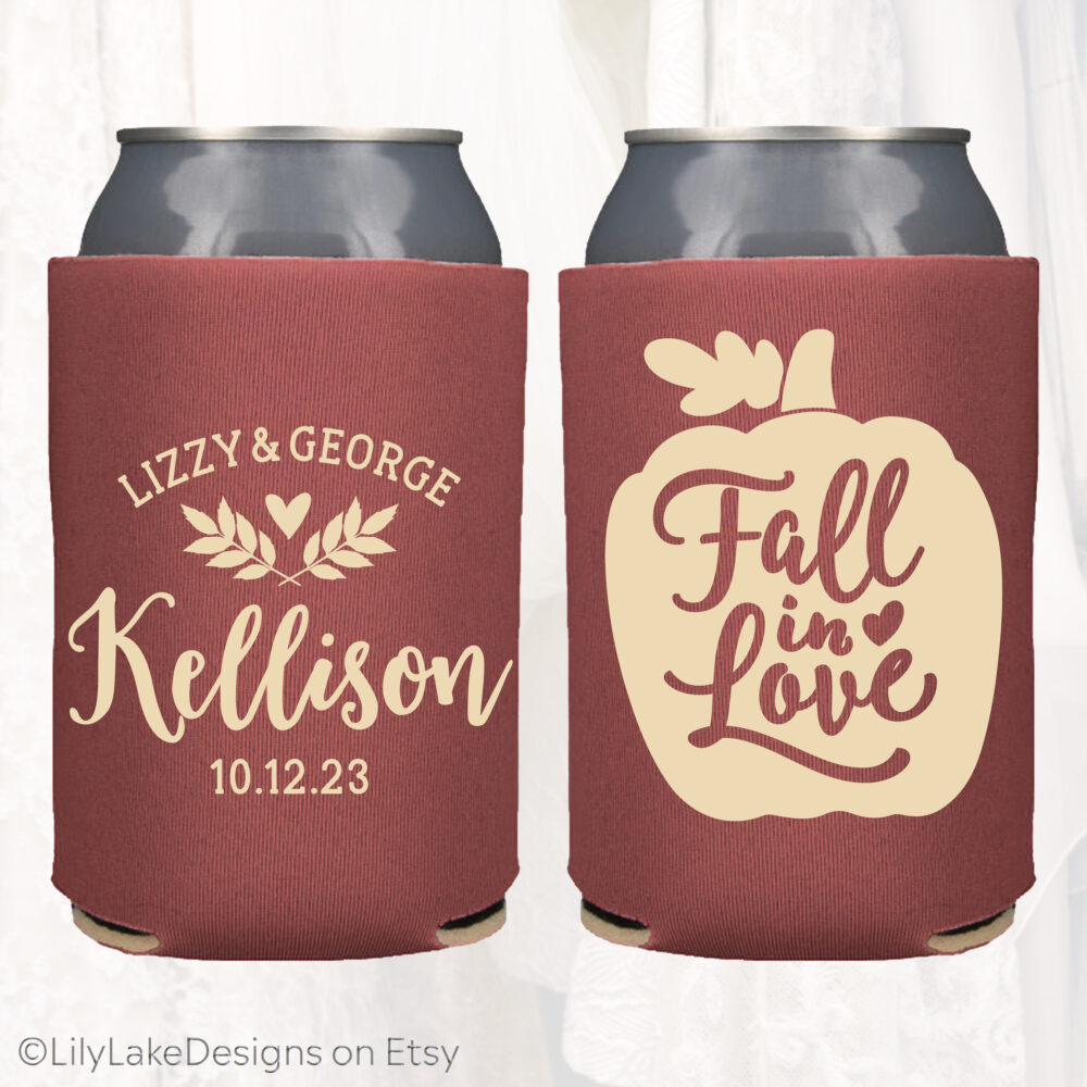 Personalized Wedding Favors, Fall in Love, Autumn Wedding, Customized Can Coolers, Beverage Insulators Beer | Fall101