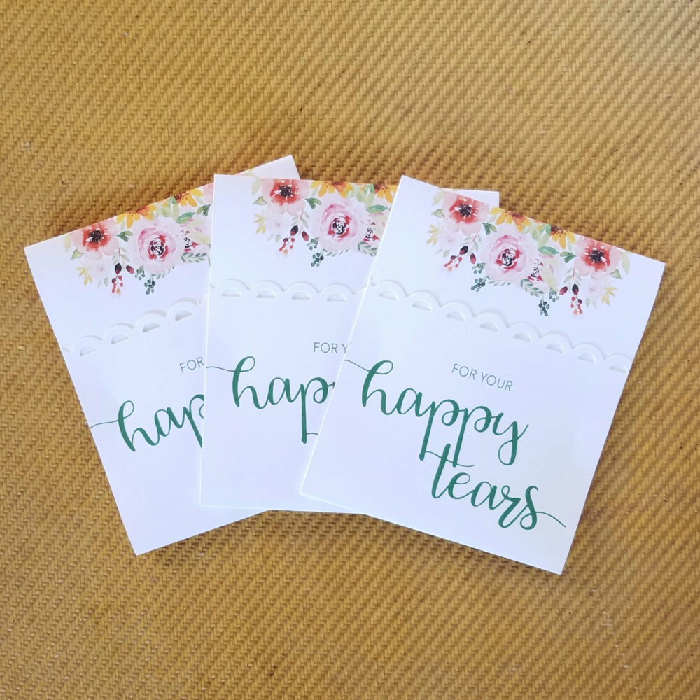 75 Wedding Favors - Rustic Floral Logo   For Your Happy Tears Tissues Spring Favours