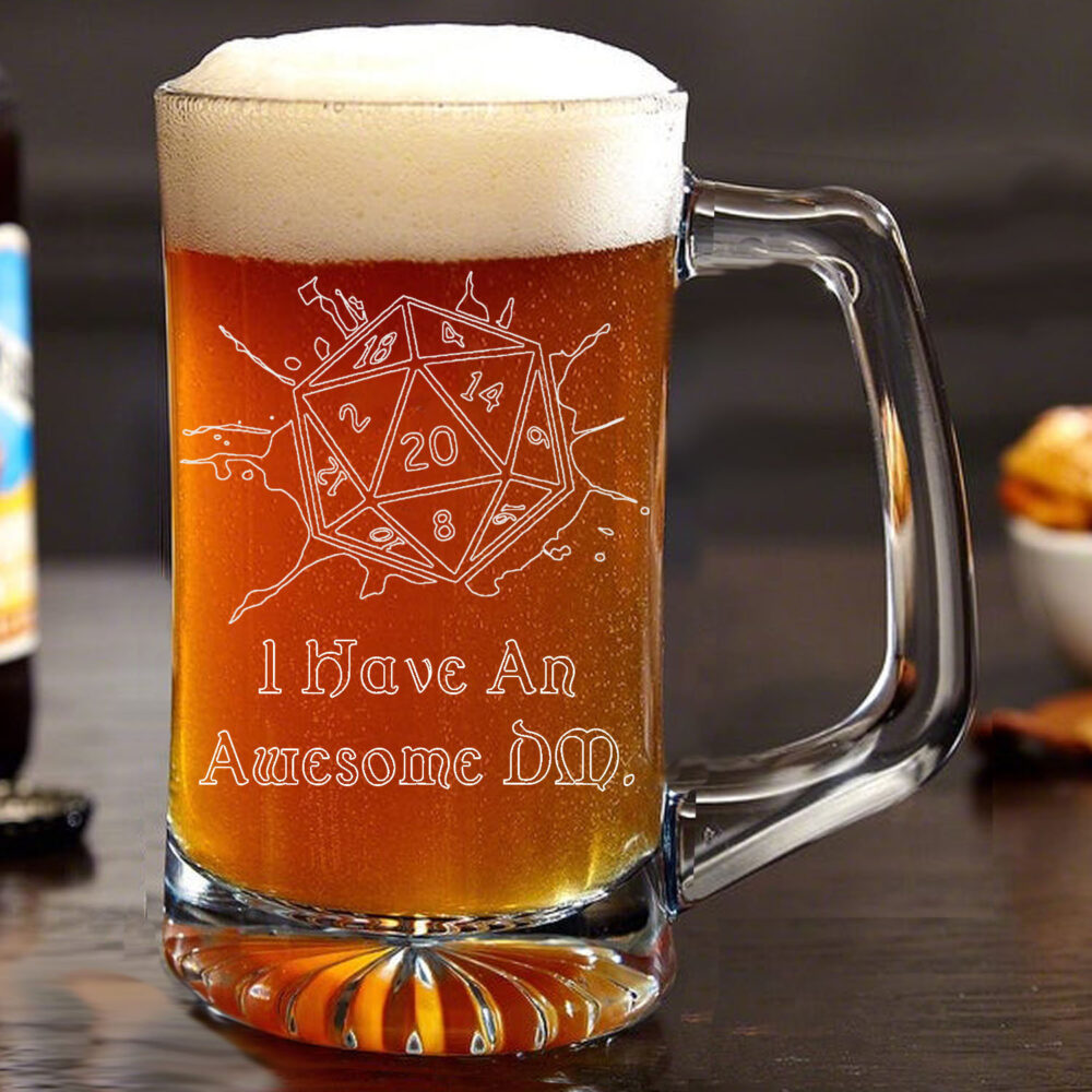 Engraved Personalized Geek Nerd Wedding Favor Beer Mug D20 Critical Dungeons & Dragons Dnd Bridal Gift Groomsman Birthday