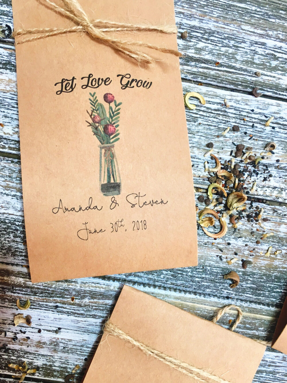 50 Flower Seed Favors - Boho Wedding Favors Seeds Included Favor Flower Packets Rustic Wedding