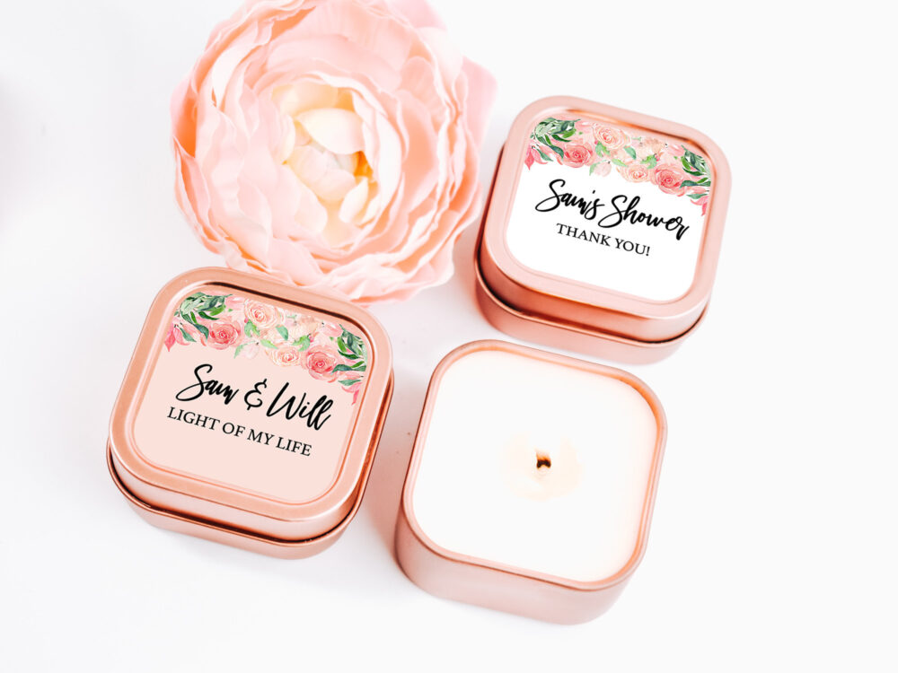 Rose Gold Wedding Favors 12Ct Custom Candle - Personalized Bulk For Guests