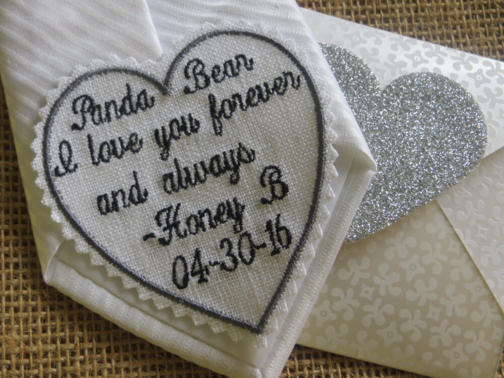 Embroidered Wedding Tie Patch Or Dress Label. Father Of The Bride, Groom, Best Man. Linen Fabric. Handkerchief