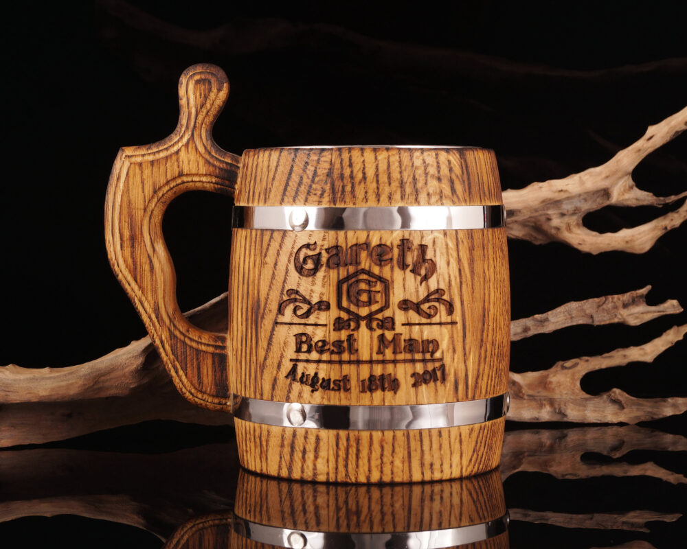 Groomsmen Gift, Personalized Beer Mug, Wooden Engraved, Stein, Customized, Best Man, Wedding, Fathers Day, Groom, Usher
