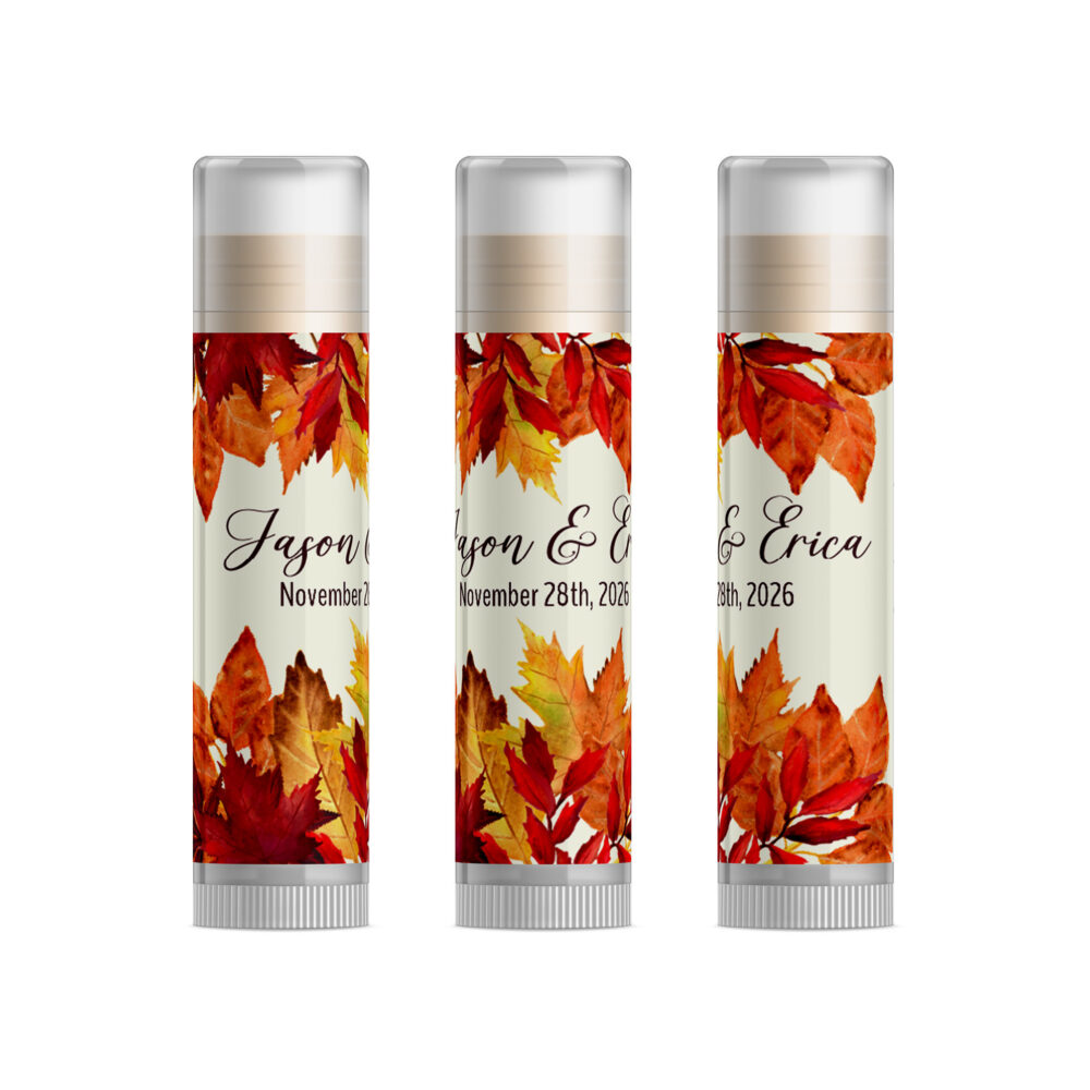 Autumn Leaves Wedding Favor, Fall Wedding, Gifts For Guest, Favors Personalized Lip Balm