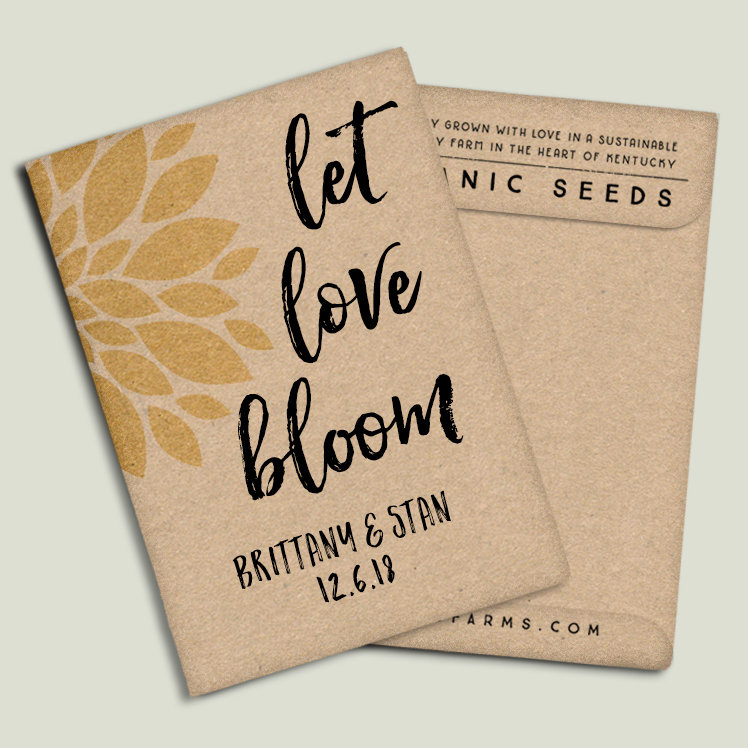 Wedding Favor Seed Packets /W Seeds - Let Love Bloom