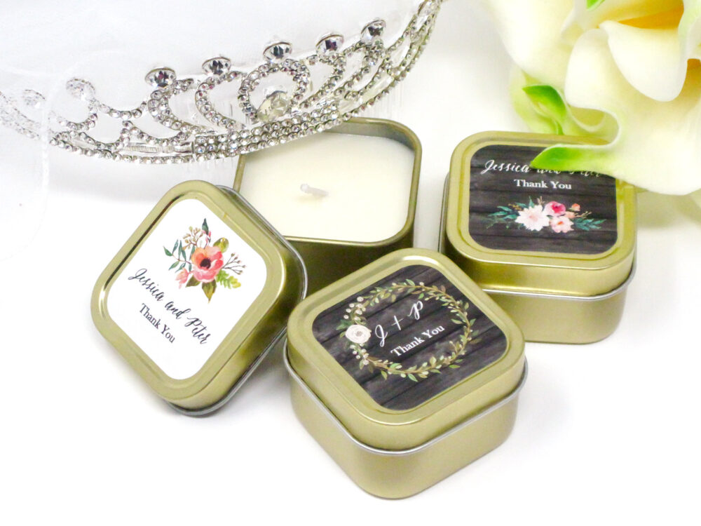 50 Gold Wedding Favors - Custom Candle Personalized Bulk For Guests Pcs
