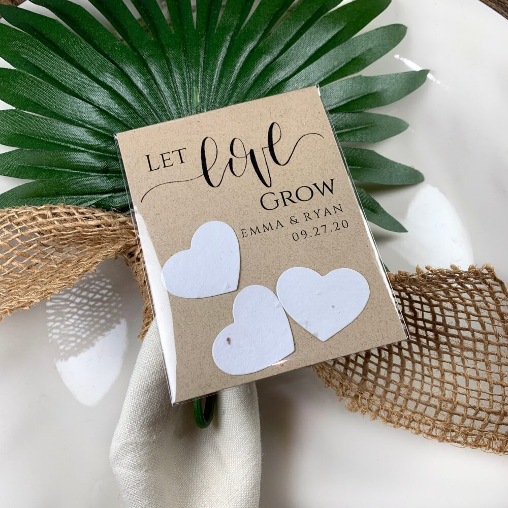 Fully Assembled Plantable Wedding Favors, Seed Paper Hearts, Rustic, Seeds 9993