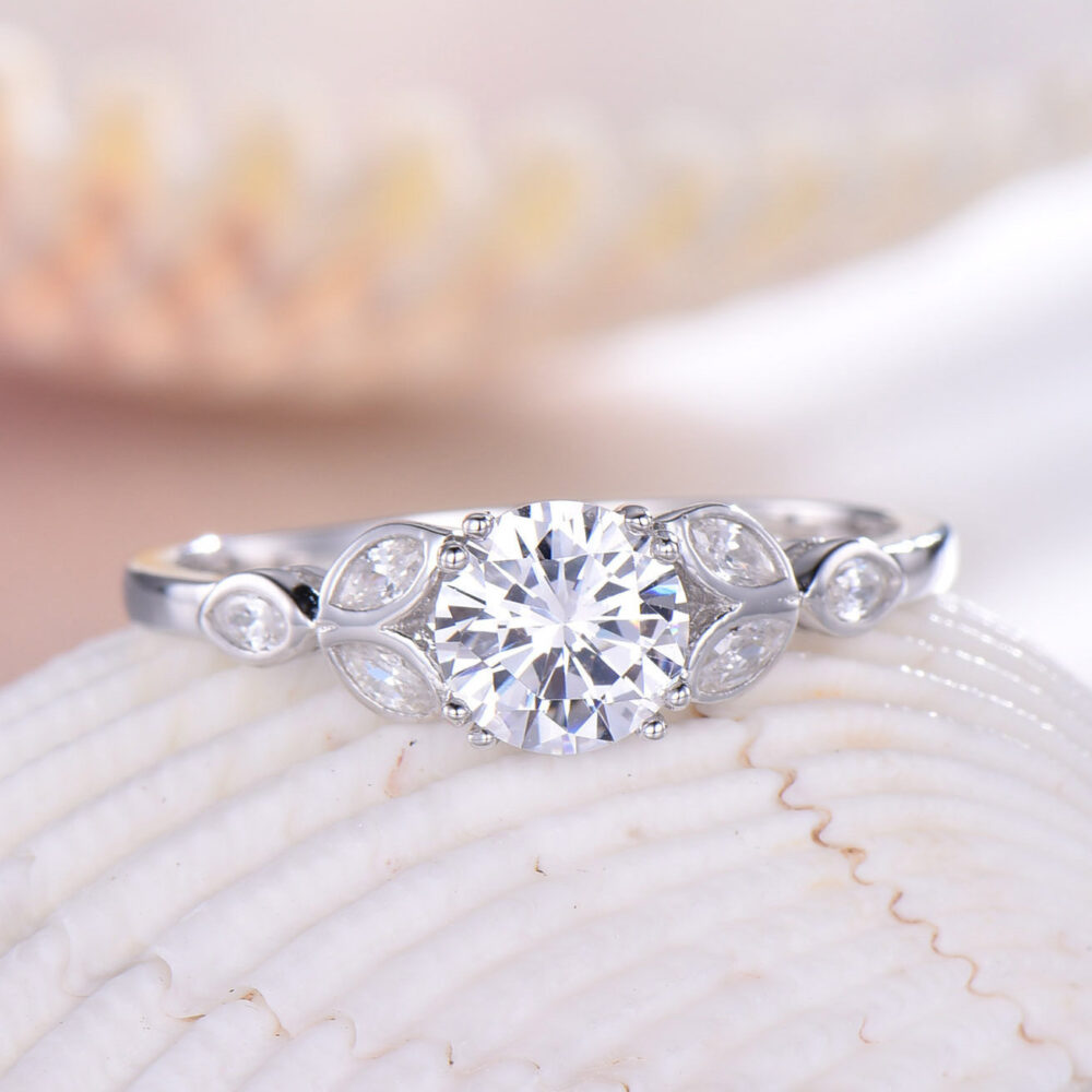 Cz Diamond Engagement Ring Cubic Zirconia 925 Sterling Silver Promise Marquise Leaf Antique White Gold Plated Wedding Gift For Her