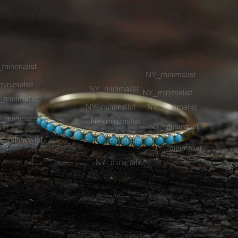 Genuine Turquoise Gemstone Half Eternity Band Ring Solid 14K Yellow Gold Handmade Fine Dainty Wedding Jewelry Gift For Her