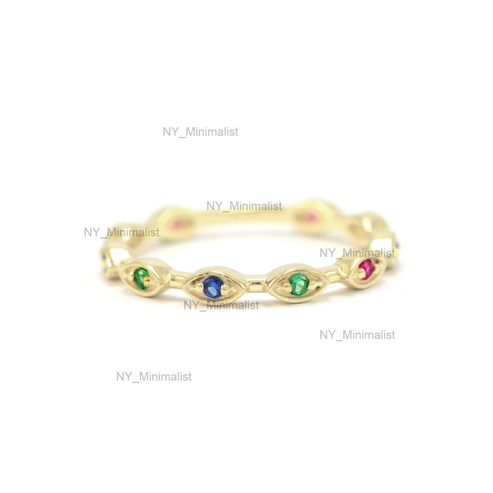 Genuine 0.14 Ct. Multi Sapphire Gemstone Evil Eye Eternity Band Ring Solid 14K Yellow Gold Good Luck Jewelry Gift For Mother/ Wife