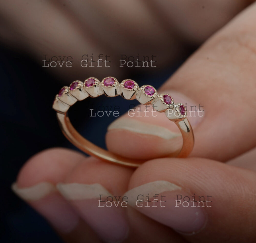 Genuine Micro Pave Ruby Gemstone Half Eternity Band Ring Handmade Solid 14K Yellow Gold Minimalist Stacking Jewelry Gift For Her
