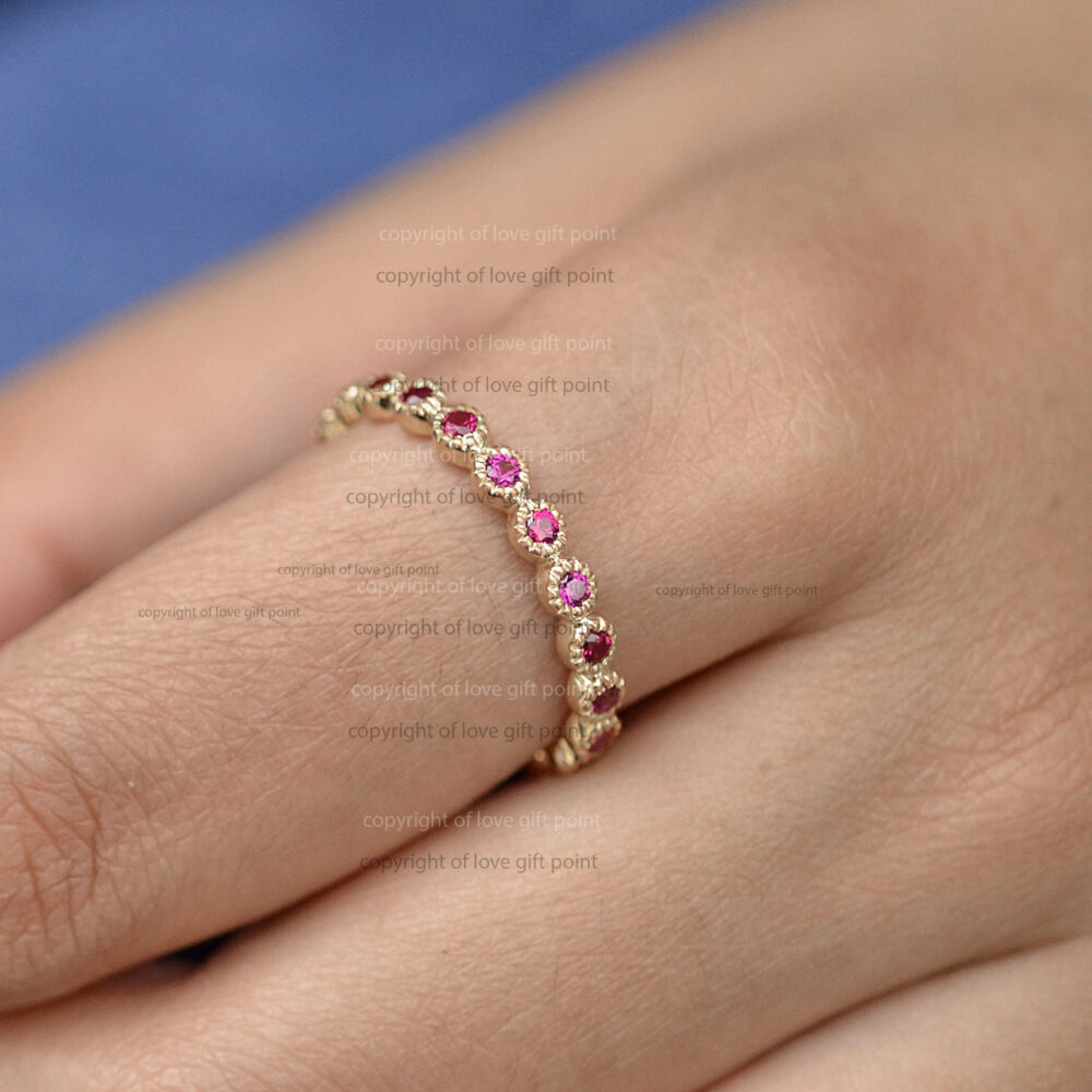 Genuine Micro Pave Ruby Eternity Band Ring in 14K Solid Yellow Gold Wedding Handmade Minimalist Jewelry Gift For Her