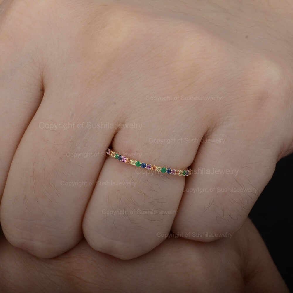 Rainbow Multi Sapphire Natural Gemstone Full Eternity Band Ring Solid 14K Yellow Gold Handmade Fine Jewelry Thanksgiving Gift For Her
