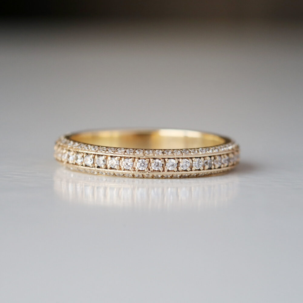 3 Line Diamond Eternity Band Ring in Solid 14K Yellow Gold, Wedding Band, Handmade Jewelry, Gift For Women By Monbijoutier