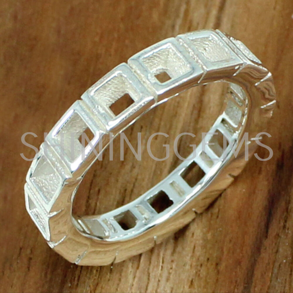 925 Sterling Silver 3 X Mm Square Full Caste Eternity Band Ring Bezel Cup For Metal Casting Minimalist Setting