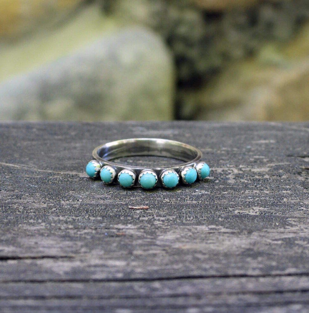 Kingman Turquoise Eternity Band Ring/Sterling Silver Half Infinity Stacking Rings Gift For Her Jewelry Sale