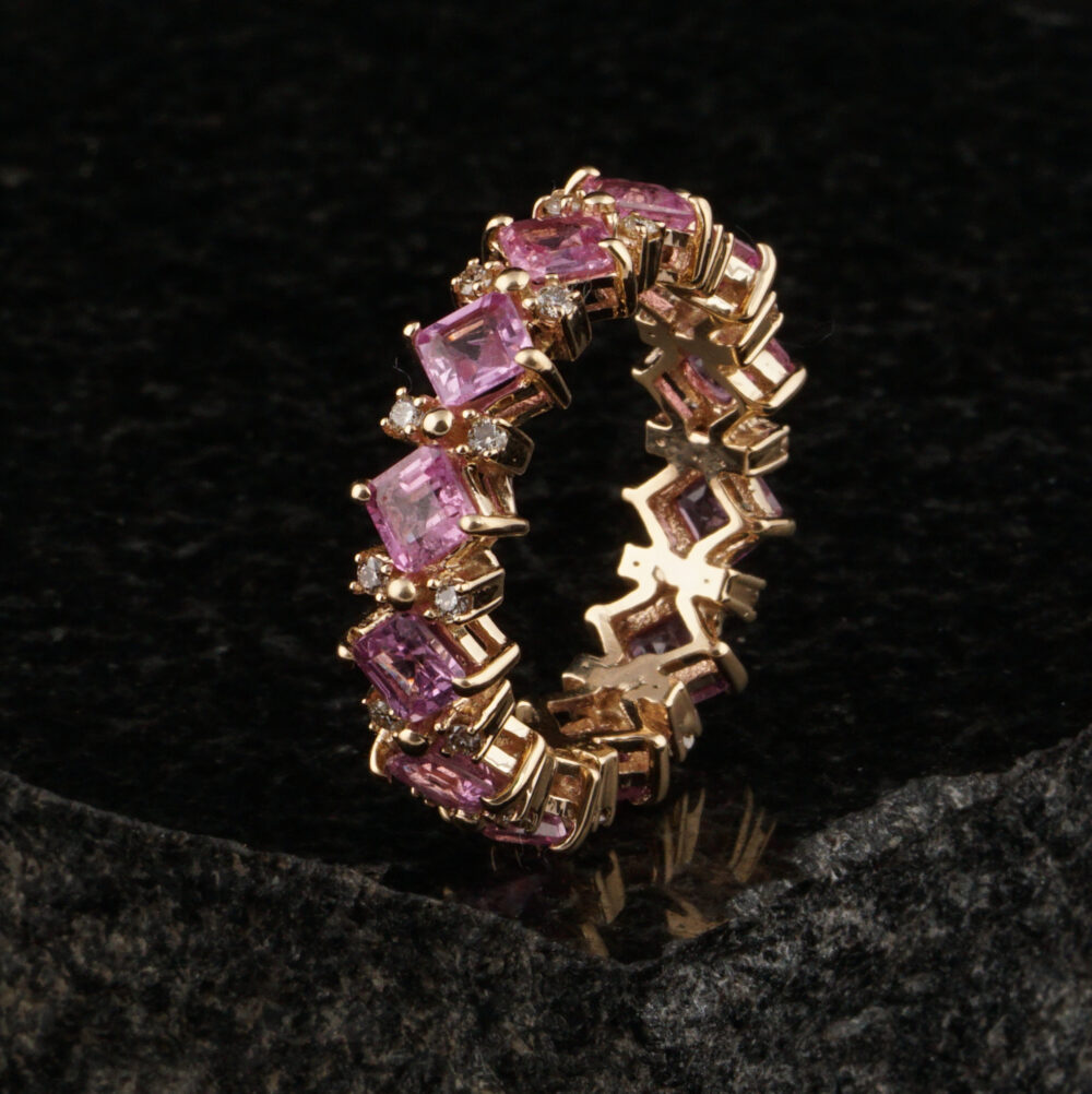 14K Gold Pink Sapphire Diamond Ring, Eternity Band Ring Jewelry, Wedding Gift For Her, October Birthstone