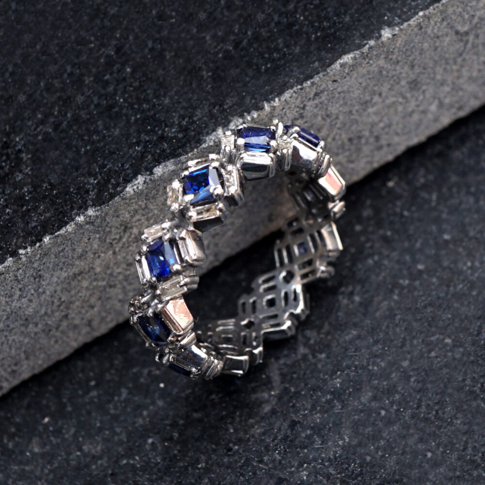 Blue Sapphire Gemstone Baguette Diamond 925 Silver Eternity Band Ring Jewelry Valentine Gift For Her, Wedding Ring, Jewelry