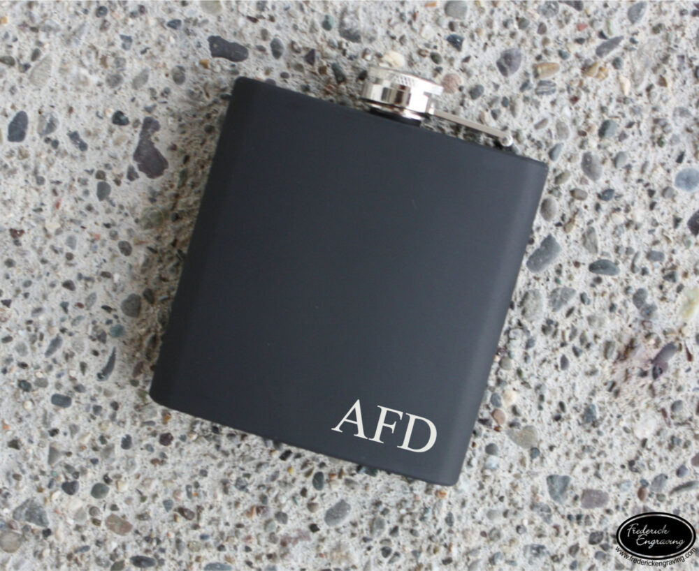 Engraved Initials Flask - Personalized Custom Hip Monogram Color Options Groomsman Gift, Bridal Party Gift