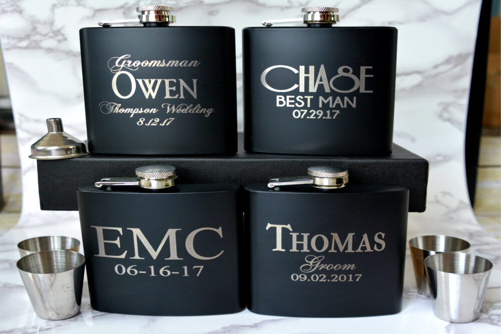 Personalized Flask Gift Set, Bridesman Alternative Wedding Party Gift, Customized Favor