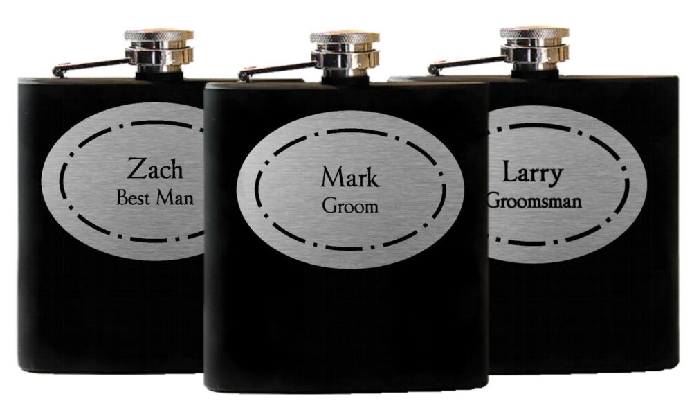 11 Personalized Groomsmen Gifts - Custom Engraved Wedding Flasks Liquor Set Of 11, Groomsman Best Man Gift