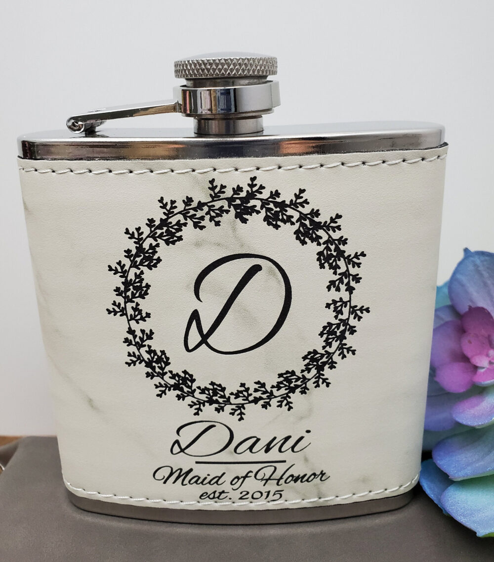 Bridesmaid Wedding Flask, Custom Personalized Proposal Flask Gift, Engraved For Maid Of Honor & Mother Bride