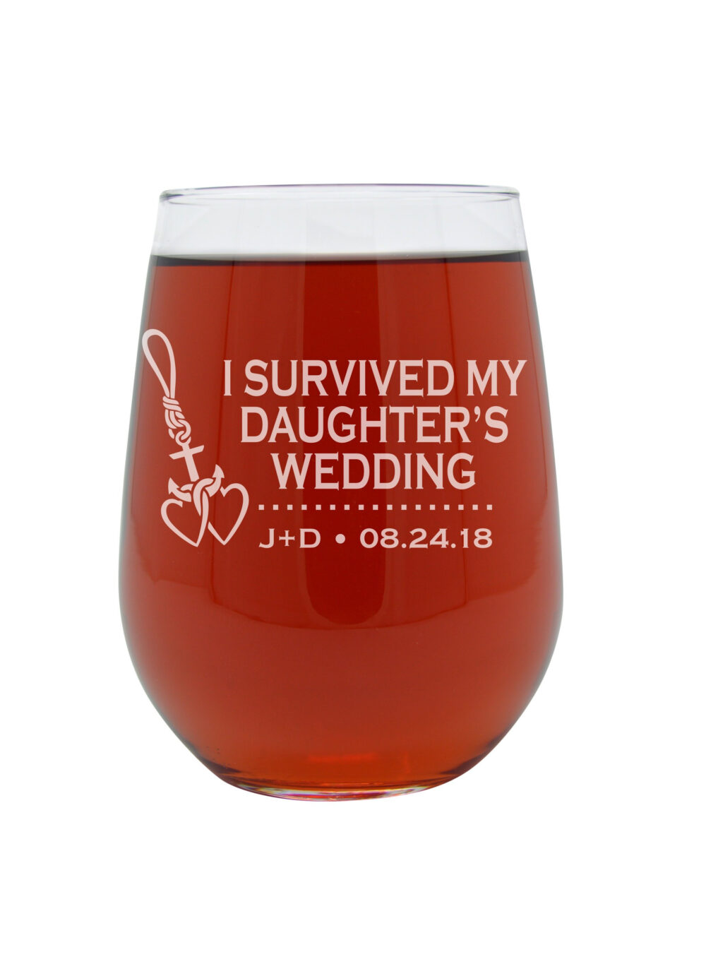 I Survived My Daughter's Wedding Wine Glass, Mother Of The Bride Stemless Gift, Custom Glass