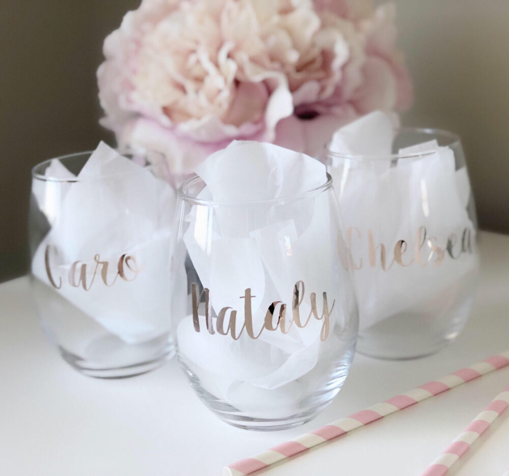 Bridesmaid Wine Glass - Personalized Rose Gold Bridesmaid Proposal Gift - Wedding Party