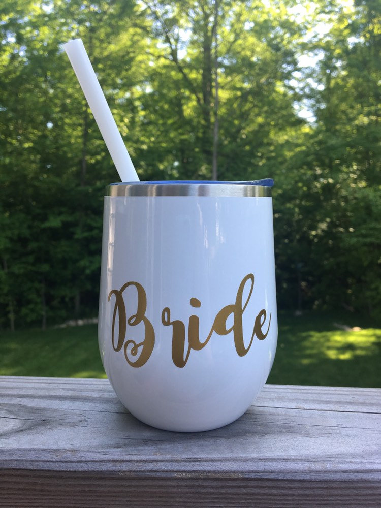 Personalized Bridesmaid Tumbler | Custom Wedding Stemless Wine Glass Tumbler - Great For & Bachelorette Parties
