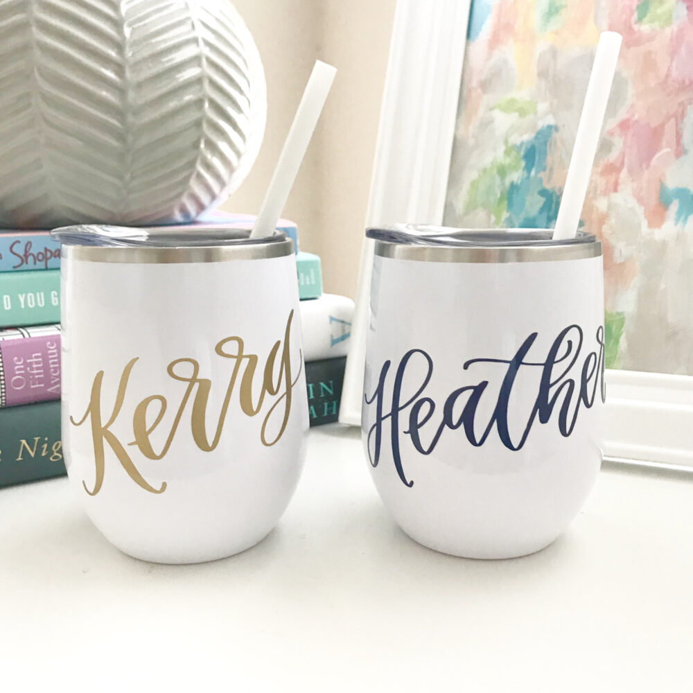 Personalized Bridesmaid Wine Tumbler - Custom Cups Bachelorette Party Favors Wedding Day