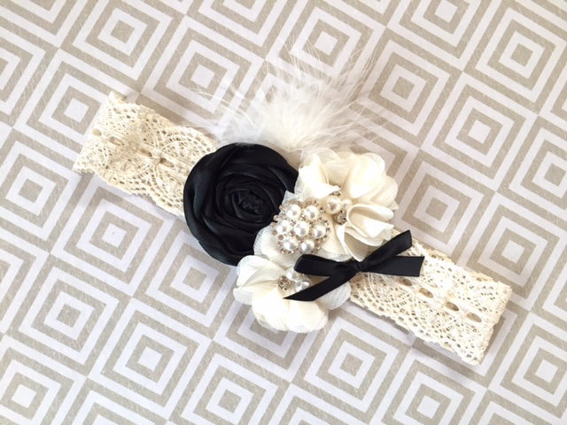 Black Tie Weddings, Hair Piece, Black Tie Headband, Flower Girl, Headband Baby, Girl