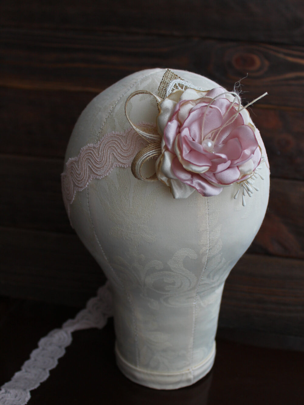Flower Girl Headband Rustic, Blush Floral Headpiece For Girls, Newborn Flower Headband, Burlap Lace Head Band