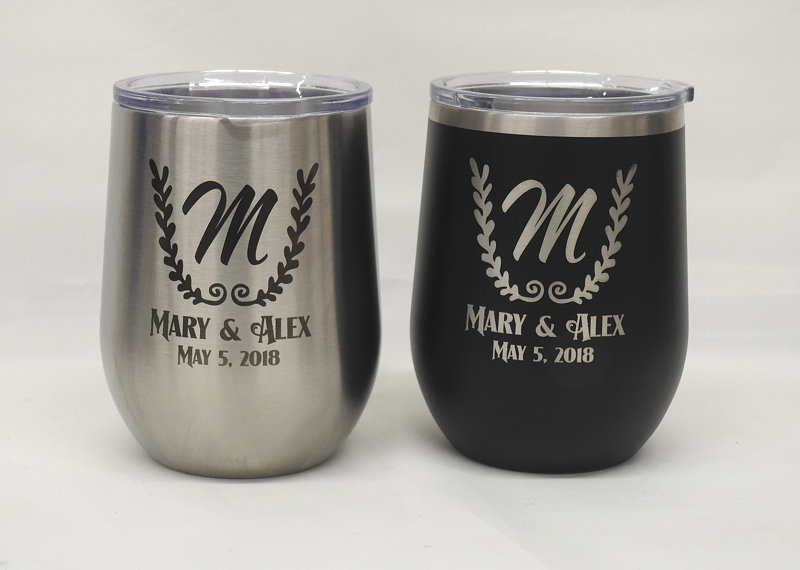 Metal Wine Glass, Engraved Personalized Glass With Lid, Monogram Tumbler, Bridal Party Gift