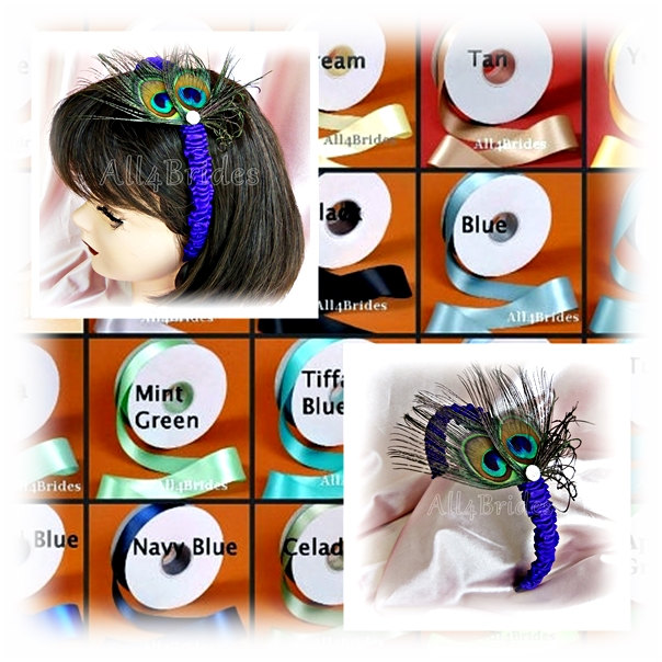 Peacock Wedding Flower Girl Headband. Feather Hair Accessories