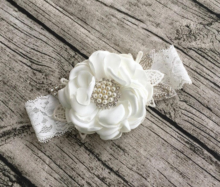 Bridal Garter, Wedding Flower Girl, Headband, Vintage Bride, Cozette Couture