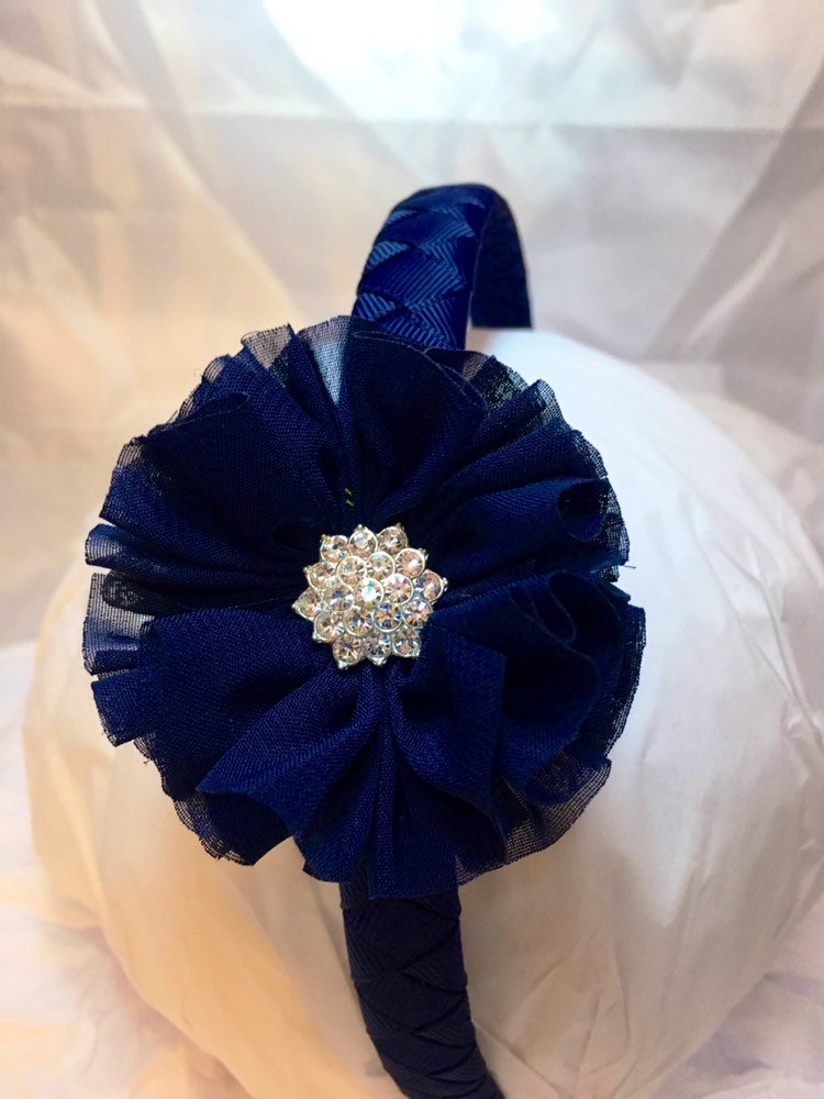 Navy Blue Sparkle Flower Headband - Women & Girls Portrait Headband Hair Accessory - Bling Wedding Flower Girl - Navy School Headba