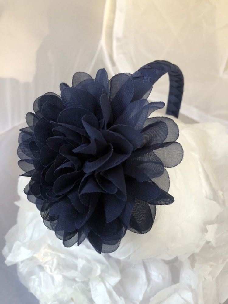 Flower Headband - Navy Blue Wedding Flower Girl School Uniform Portrait Hair Accessory Women Girls