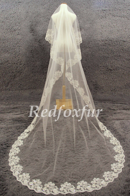 "Luxury Veil, 1 Tier Lace Veil, Hand-Beaded Veil, Bridal Veil, Ivory Wedding Veil , 118"" Veil, Long Veil, Handmade Veil, Accessories, No Comb"