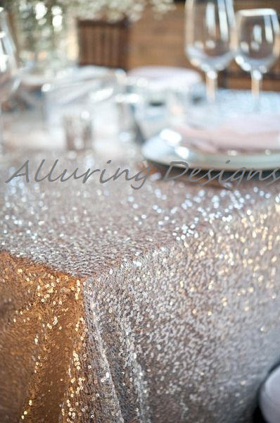 Silver Sequin Linens Tablecloth Runner Overlay Wedding Event Party Anniversary Shower Bridal Reception Glitz Bling Decor Cake Sweetheart