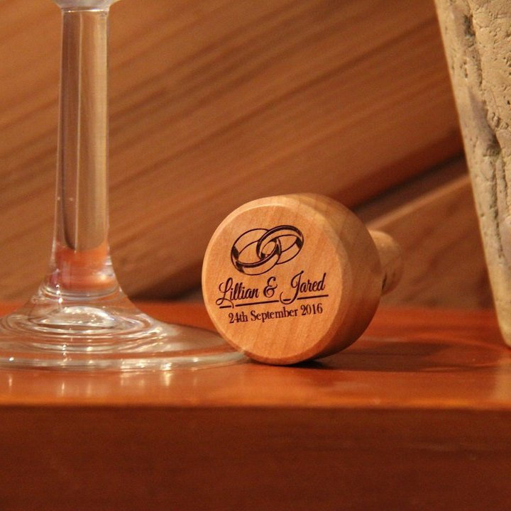 24 Personalized Wine Bottle Stoppers, Custom Engraved Cork Wedding Party Favors For Guests in Bulk, Anniversary