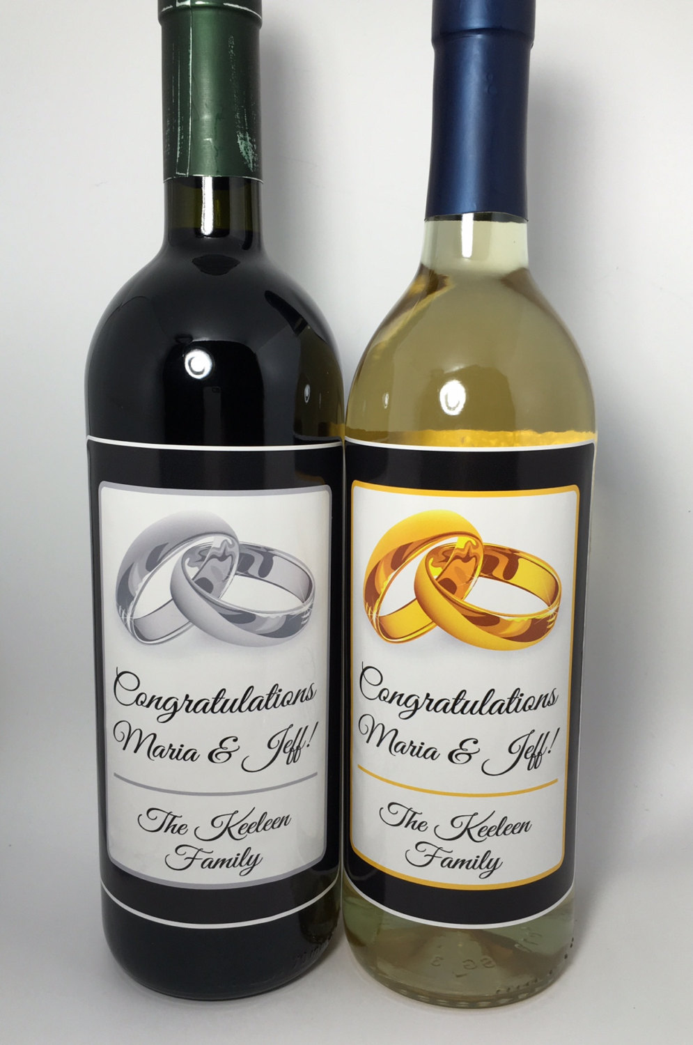 Personalized Wedding Wine Bottle Labels Ring Theme Party Favor Waterproof Label Save The Date Customize Text Colors