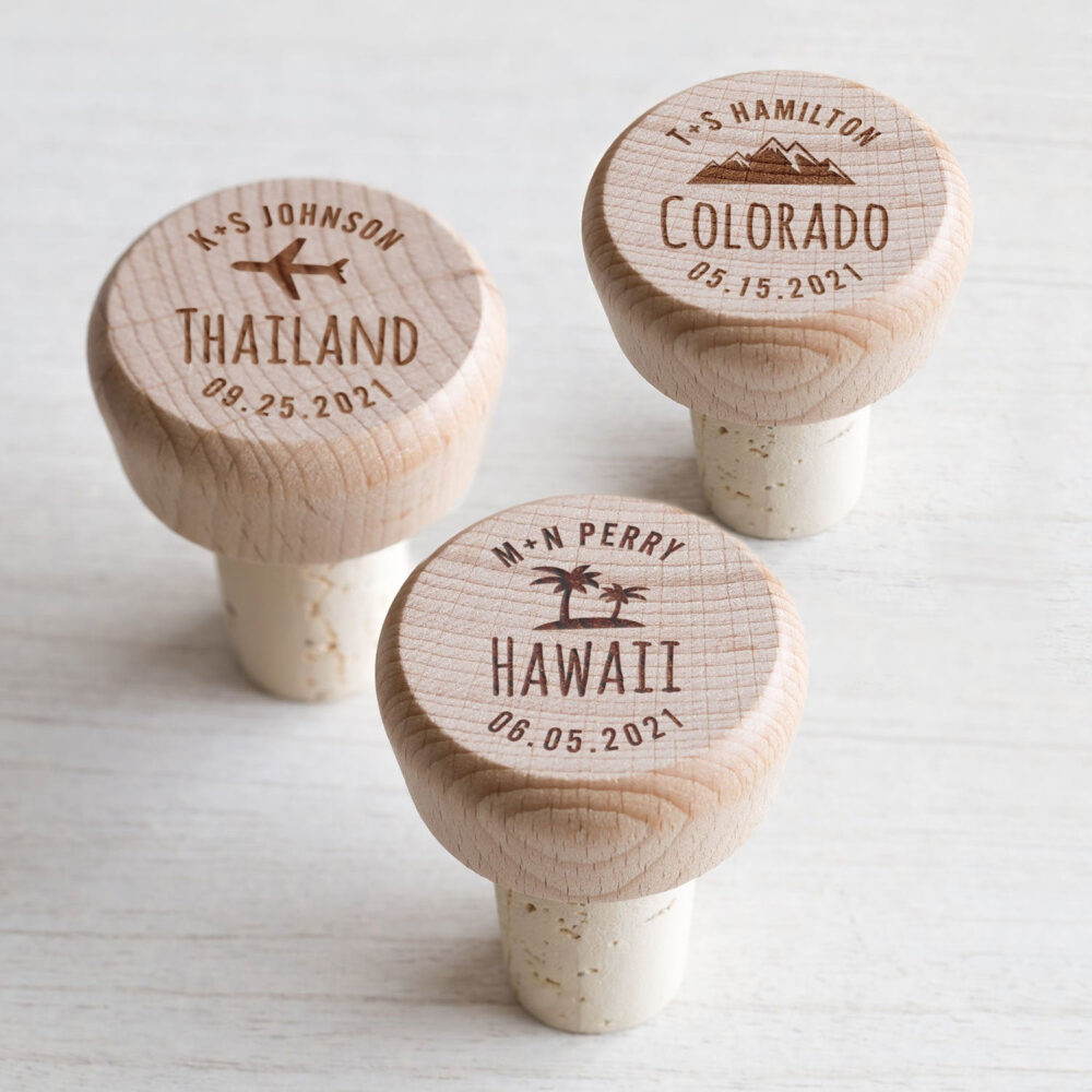 Bulk Personalized Destination Wedding Wine Stoppers By Lifetime Creations Engraved Stopper Favors, Favors