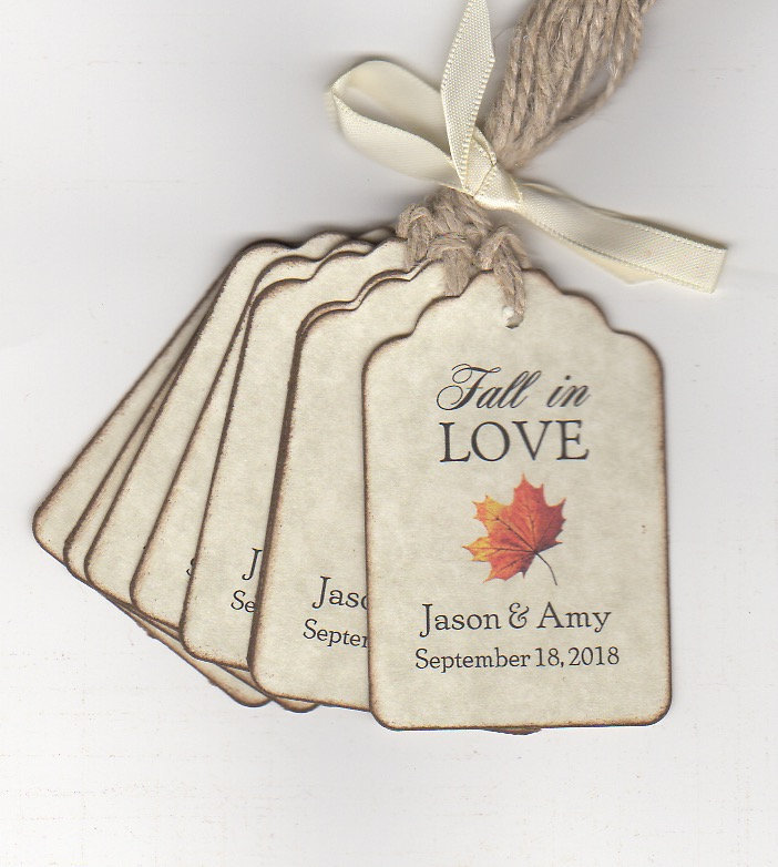 Fall in Love Wedding Favor Tags, Bridal Shower Autumn Maple Leaf Syrup Thank You Label Tags - Set Of 50
